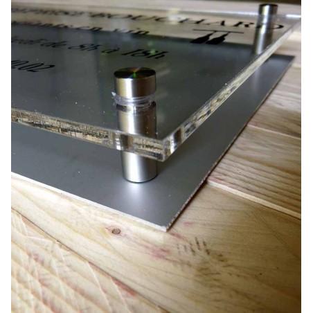 PLAQUE DOUBLE PLEXIGLASS 30x10cm + FOND PLAQUE ALU DORE OU NICKELE