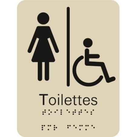 Plaque signalétique Toilettes Femme Handicapé