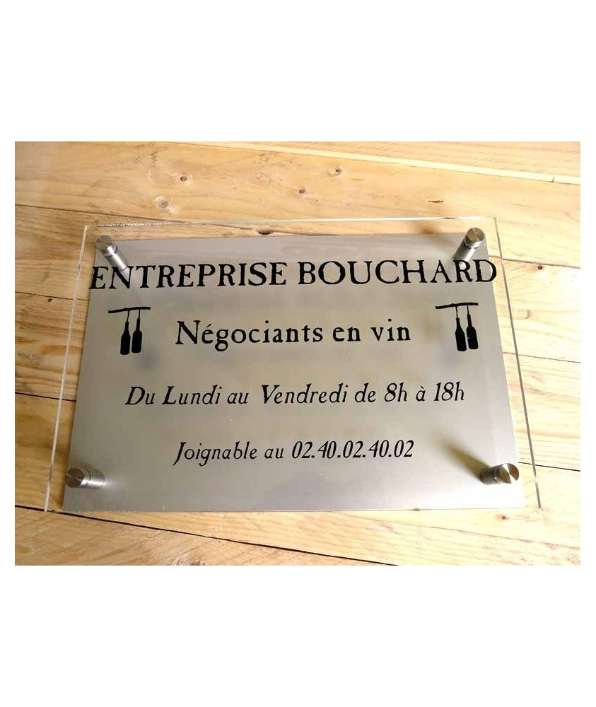 PLAQUE PLEXIGLASS + FOND PLAQUE ALU DORE OU NICKELE 30x20cm