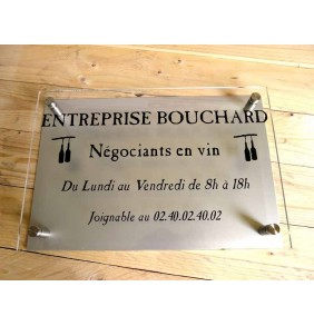 PLAQUE DOUBLE PLEXIGLASS 30x10cm + FOND PLAQUE ALU DORE OU NICKELE